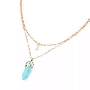Jewelry - Layered Gold Necklace w/ Crescent Moon & Turquoise